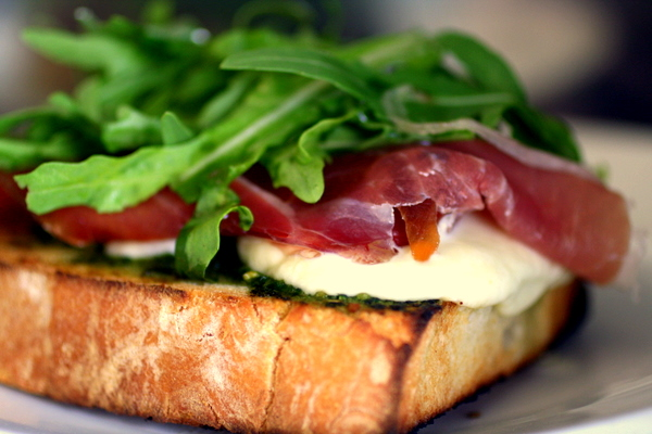 Bruschetta With Parma Ham Mozzarella And Rocket